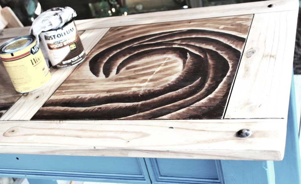 Wave Design made with Wood Stain
