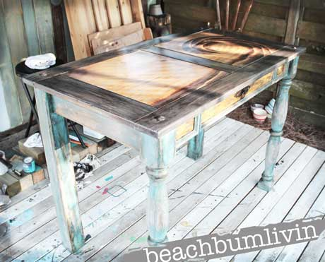 Funky Painted Desk with Wave Design from Wood Stain