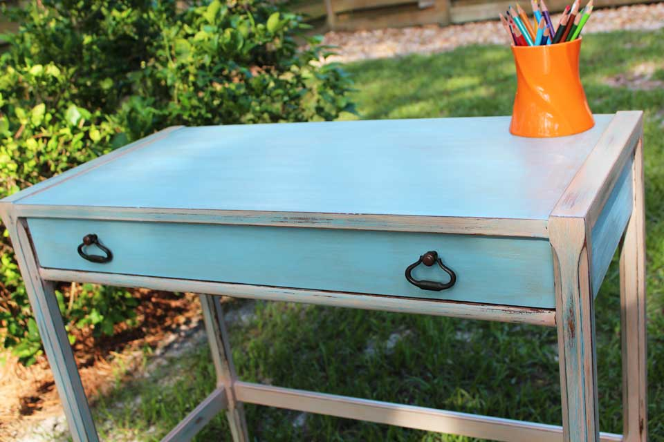Little blue desk distressed and antiqued