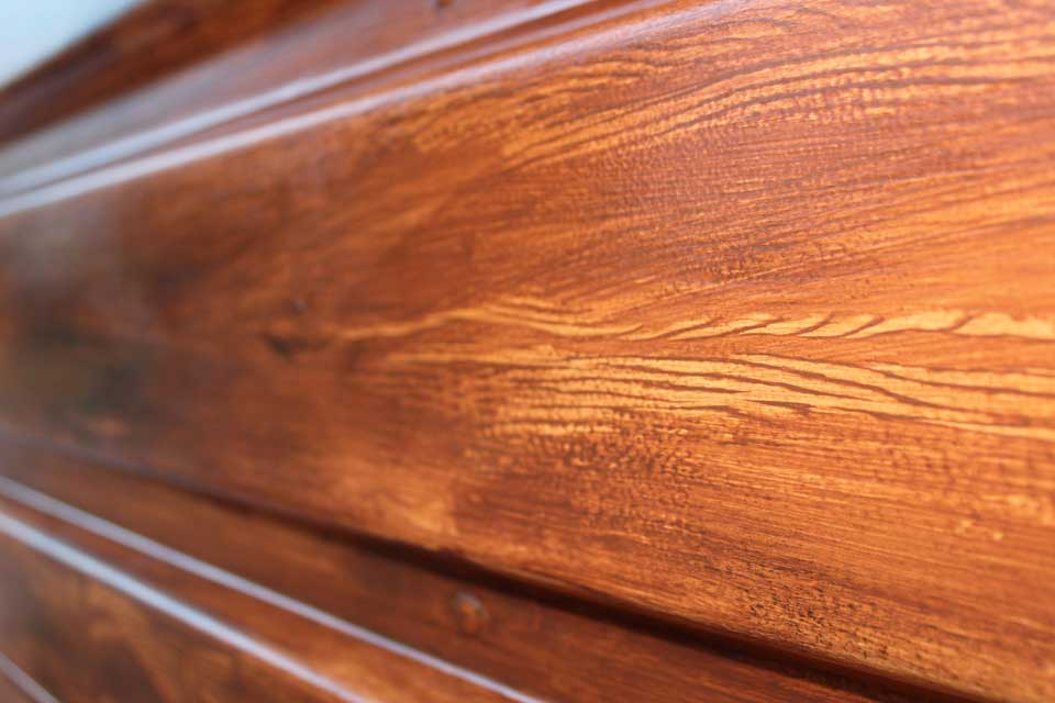 Faux wood grain with clear coat