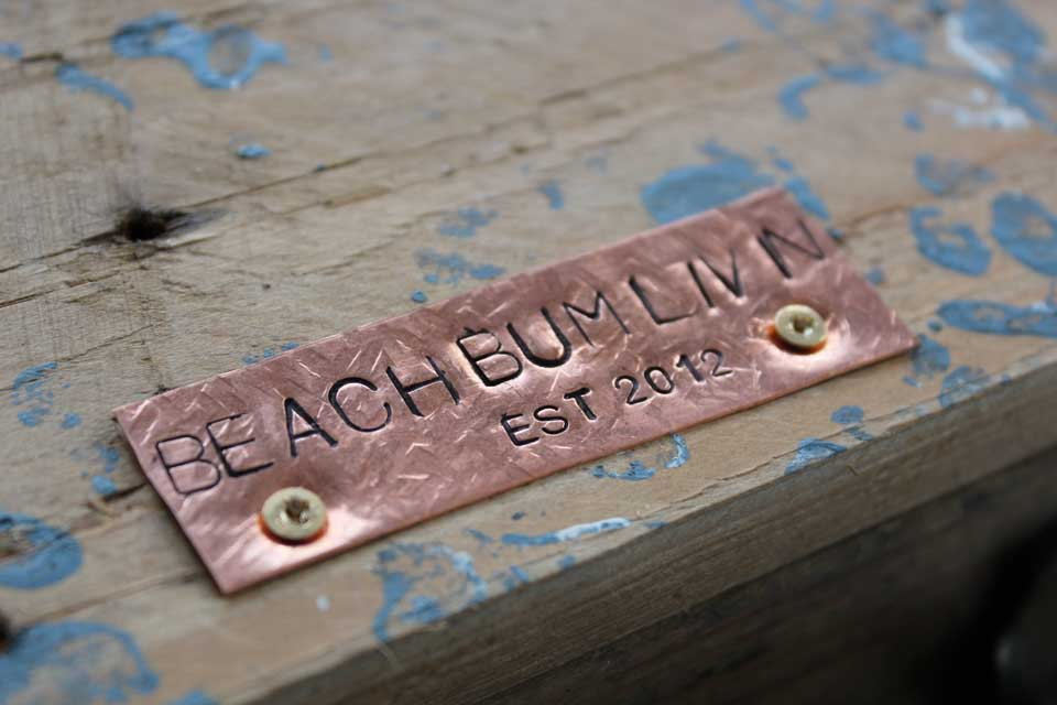 Hand stamped copper plate