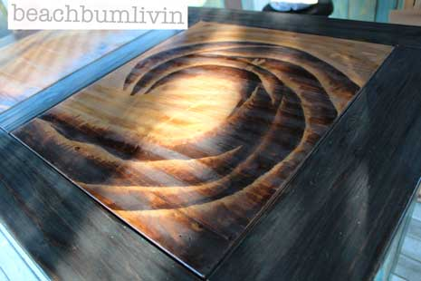 Funky Painted Desk with Wave Design from Wood Stain - beachbumlivin