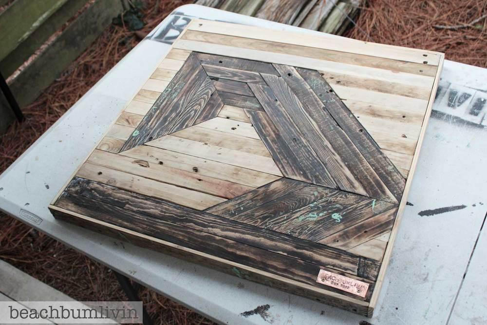 Recycled Pallet Wood Art Futuristic Wave Beachbumlivin