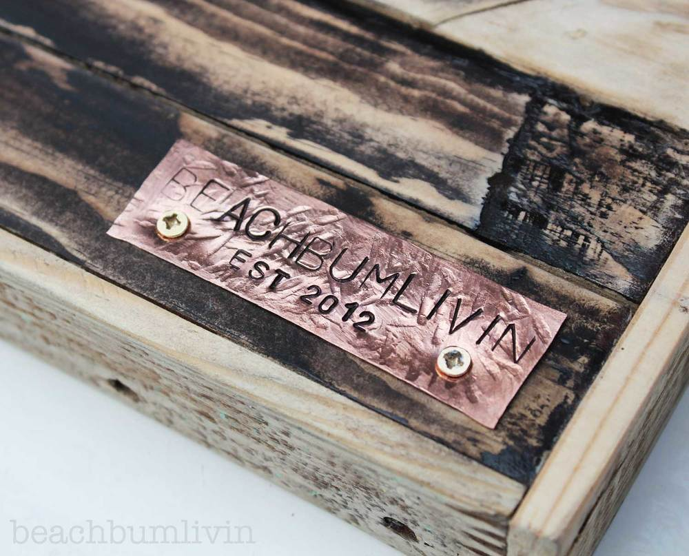 Beachbumlivin recycled pallet wood art - futuristic wave.  Hand stamped copper plate.