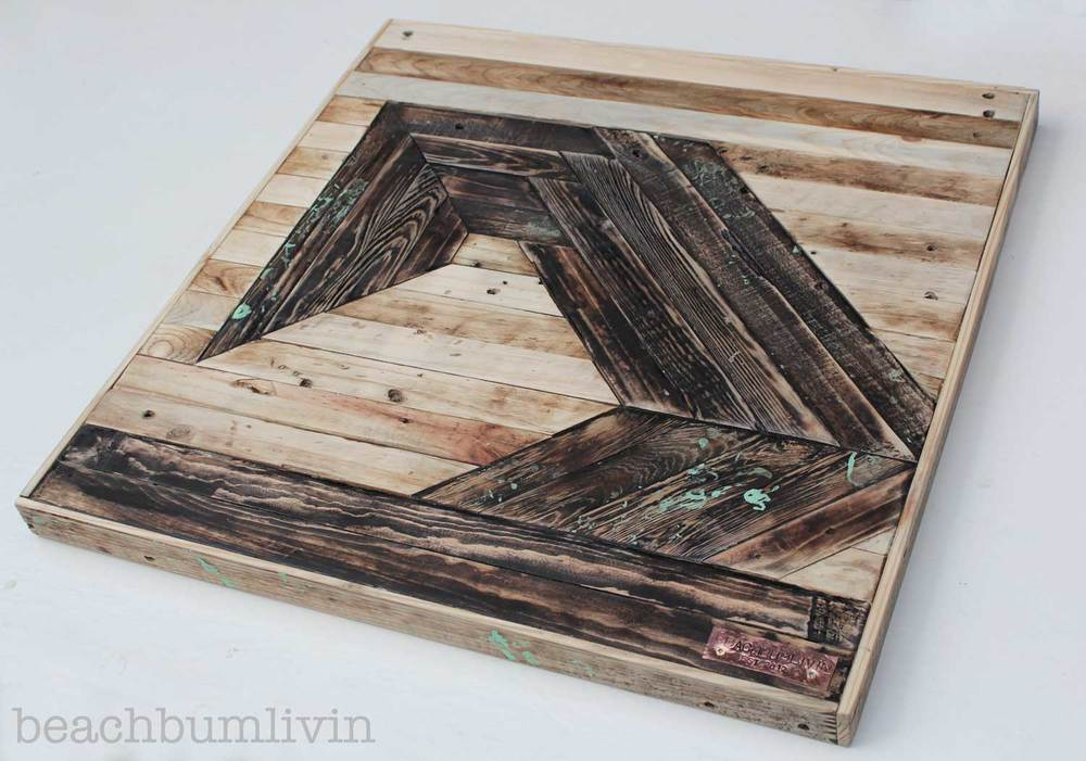 Beachbumlivin recycled pallet wood art - futuristic wave.