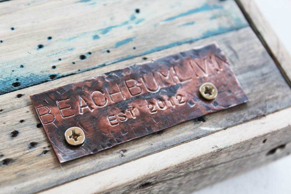 Hand stamped copper plate beachbumlivin