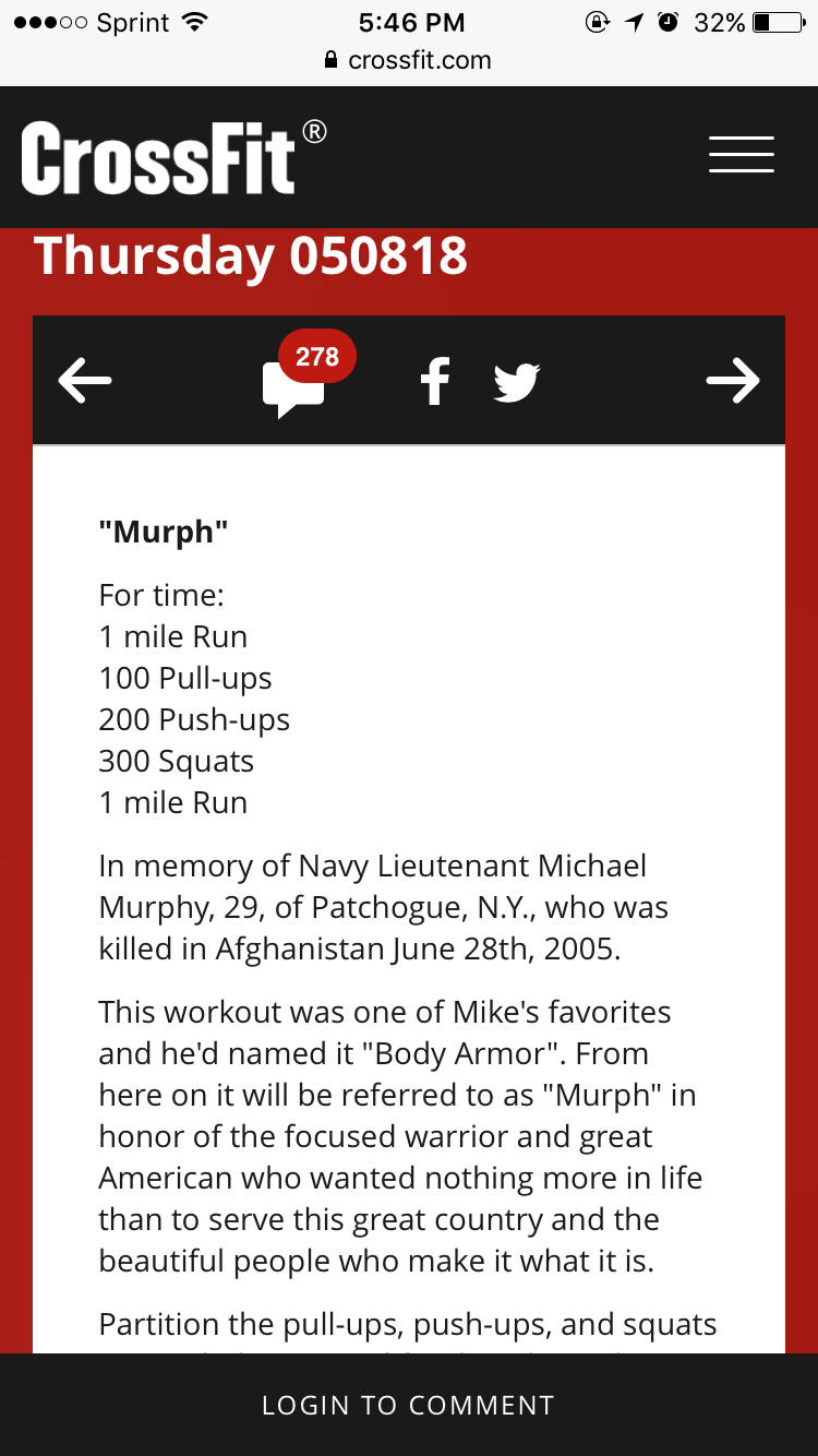 WOD - 5 30 16 Murph 9:30 AM Only 9:00 AM Only at CF205 — J19 Fitness