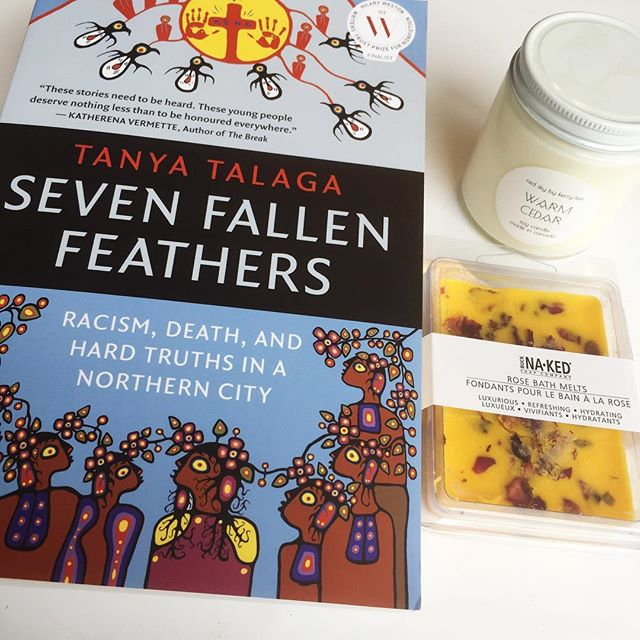 Kit for a wet and cold weekend: @redskyshop candle, @bucknakedsoapcompany bath melts, and Tanya Talaga's book SEVEN FALLEN FEATHERS. Take some time for self-care and education 💖💖💖 #northwoodgeneral  #sevenfallenfeathers #tanyatalaga #selfcare #staywoke