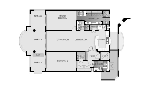 The Suites Floor Plan, featuring Two Bedrooms, Terraces, Living Spaces, and Kitchen