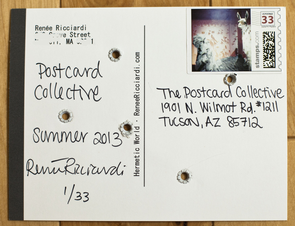 Back of Postcard, sent to Postcard Collective Headquarters in Arizona