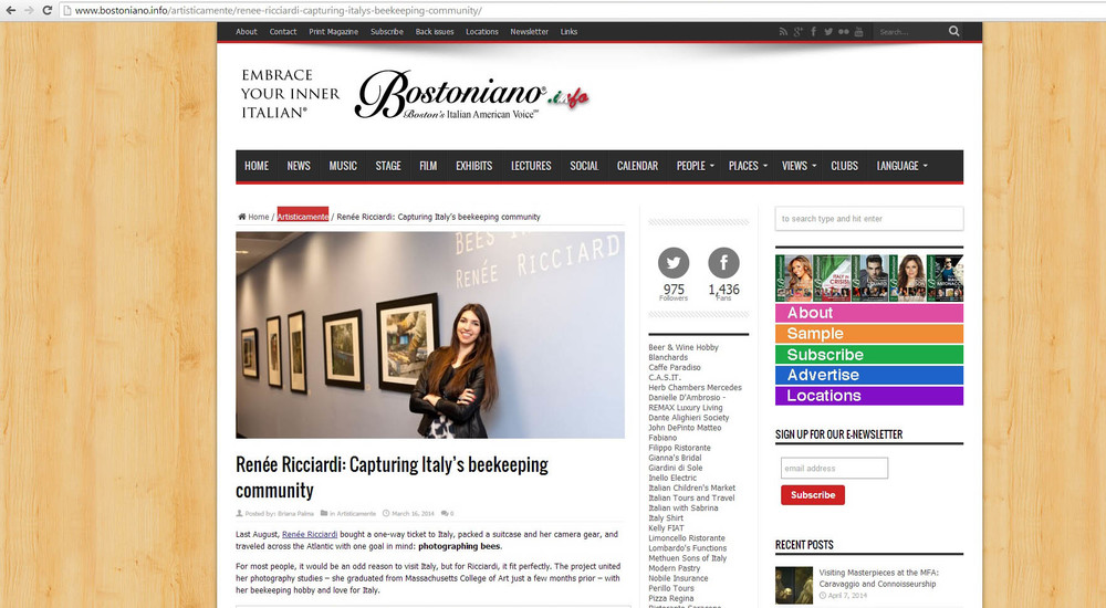 Online and Print Interview with Bostoniano Magazine