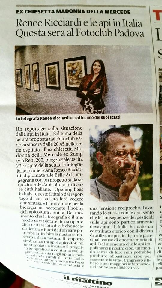 Article about my work and presentation in Padova, Italy.