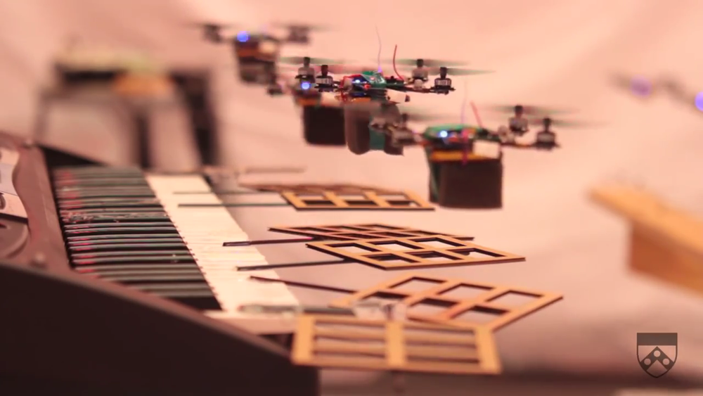 Robot Quadrotors Perform James Bond Theme  by Kurtis Sensenig