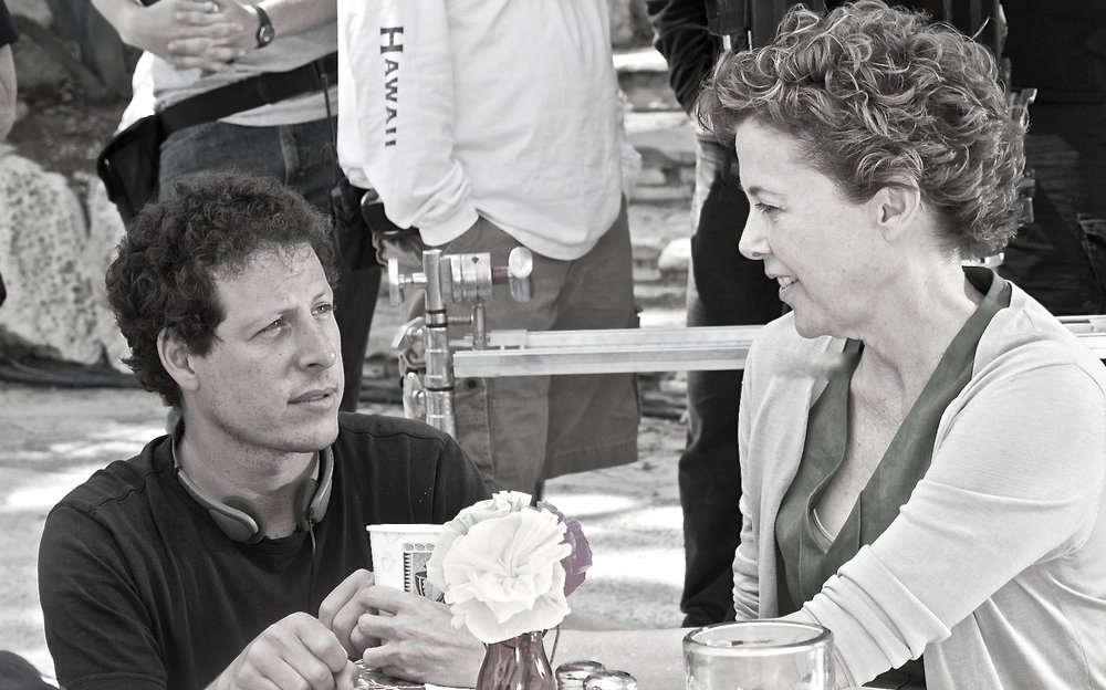 "with Annette Bening.   Annette's immense talent will bring any director to his knees. Here we're on the set of the ""Restaurant in Mexico"" which was actually built amongst the twisted rubble of an abandoned beach near San Pedro, California (designed by genius production designer Jeanine Oppewall)."