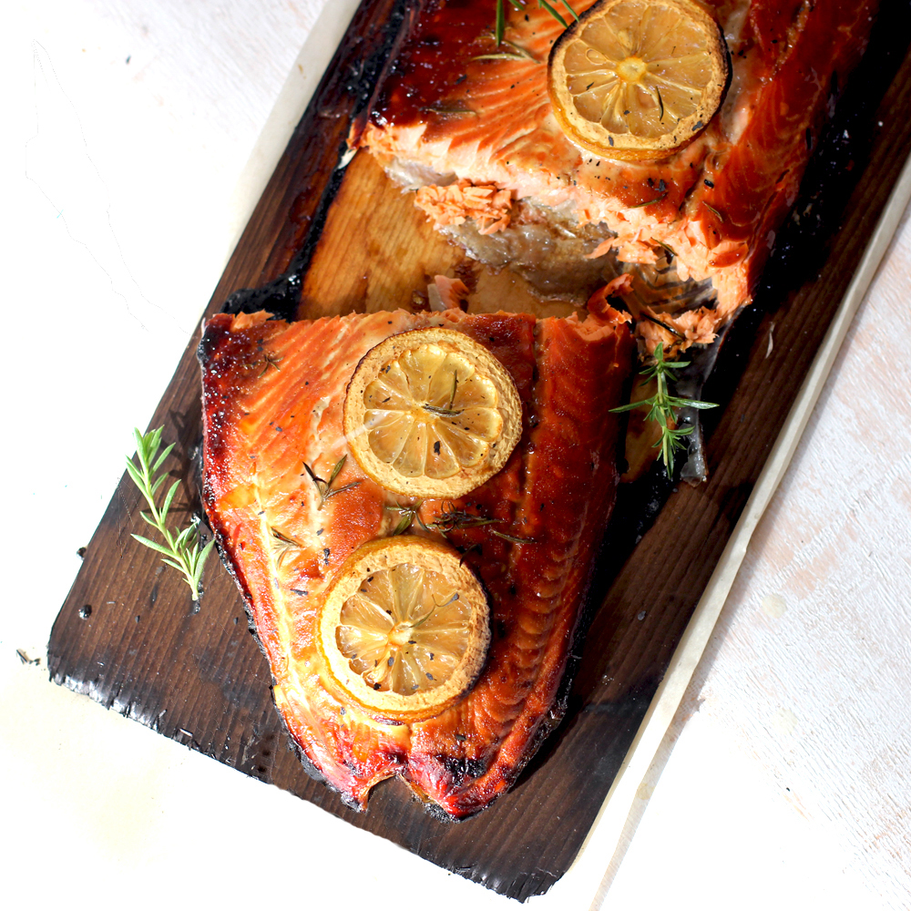 Cedar Plank Grilled Salmon — playin with my food