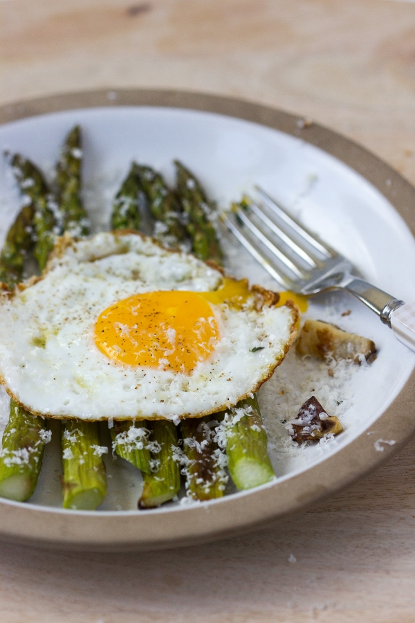 Fried Egg with Roasted Asparagus, Shitake Mushrooms, and Parmesan ...
