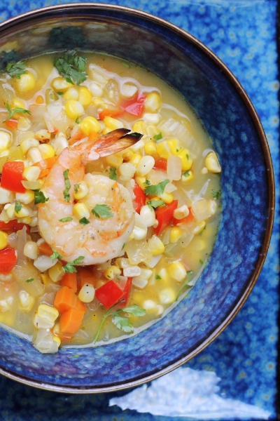 ROASTED CORN CHOWDER WITH GRILLED SHRIMP