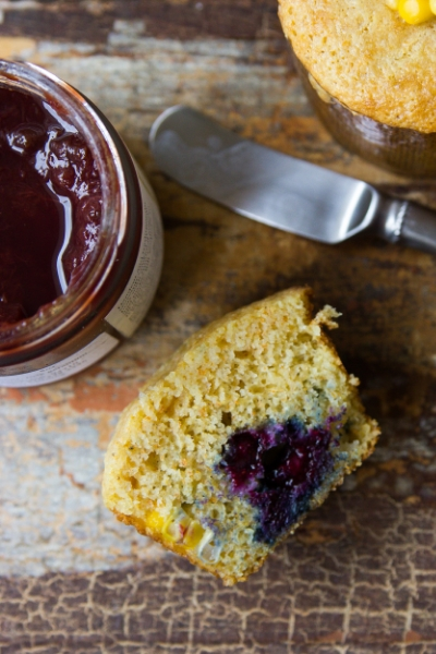 CORN MUFFINS WITH BLUEBERRIES AND FRESH CORN