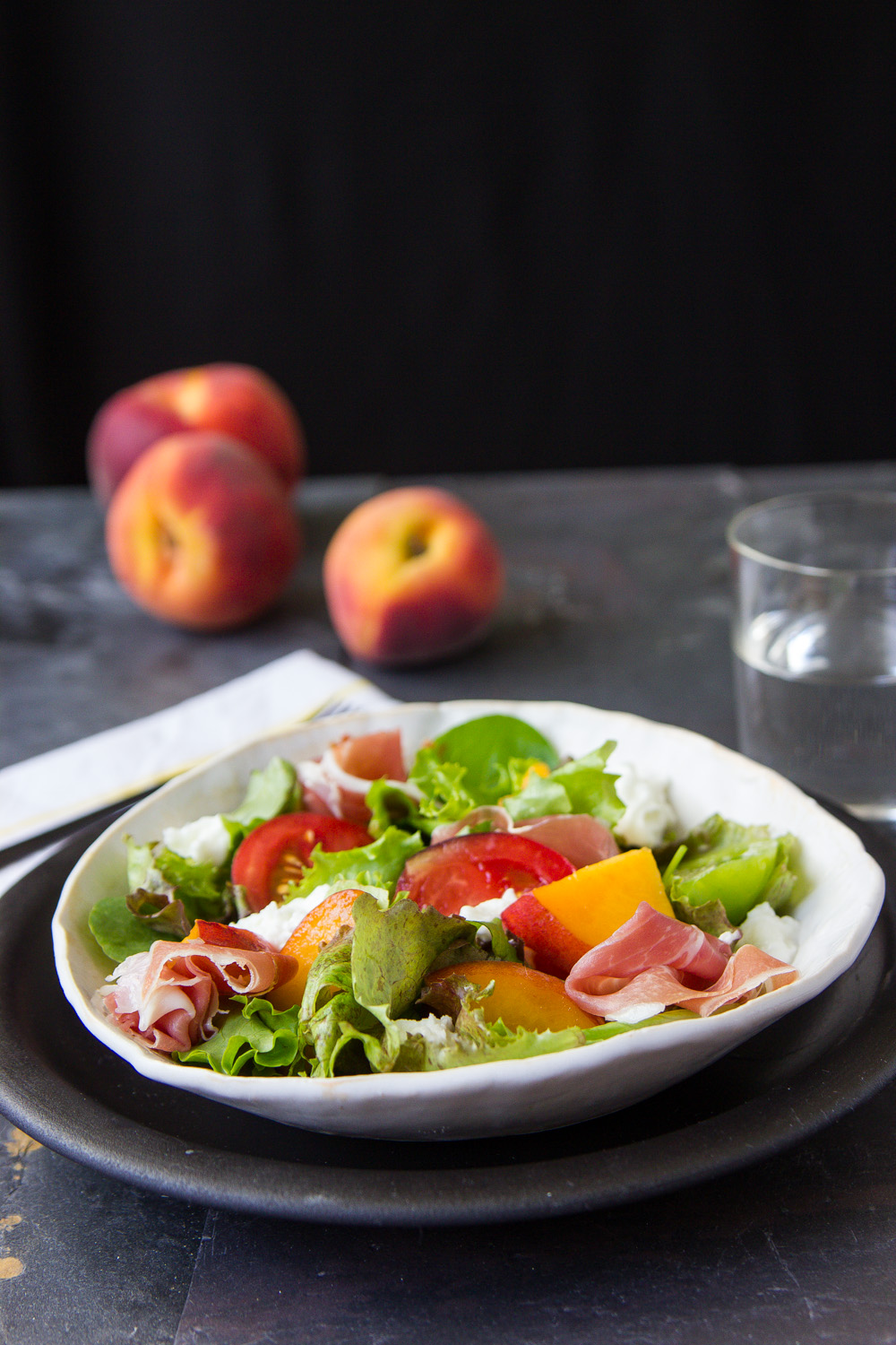 SUMMER PEACH SALAD WITH LEMON BASIL DRESSING