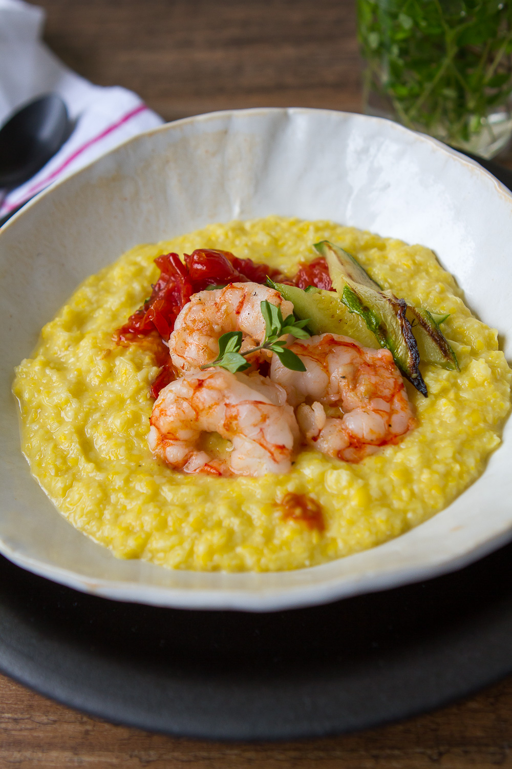 Fresh Corn Polenta with Grilled Shrimp, Zucchini, and ...