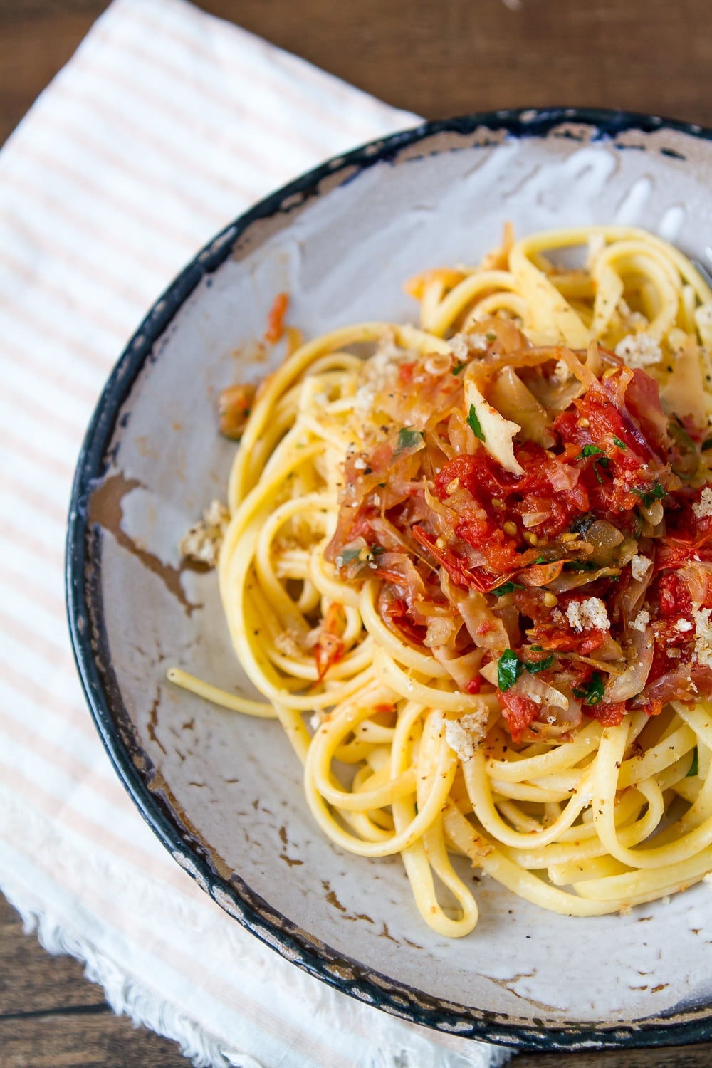 SPAGHETTI WITH OVEN ROASTED TOMATOES AND CARAMELIZED FENNEL