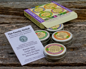 "The Family Herbal - ""A Home Herbal Starter Pack"" - includes 4 of the most commonly used herbal salves around the home: Plantain Salve, Dry Itchy Skin Salve, Juniper Salve, and Monarda Salve. Contains four, 1 oz. tins. $25."