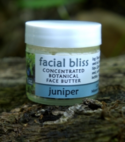 facial bliss - concentrated botanical face butter,  juniper scent.  1   oz. - $12.  2 oz. - $20.