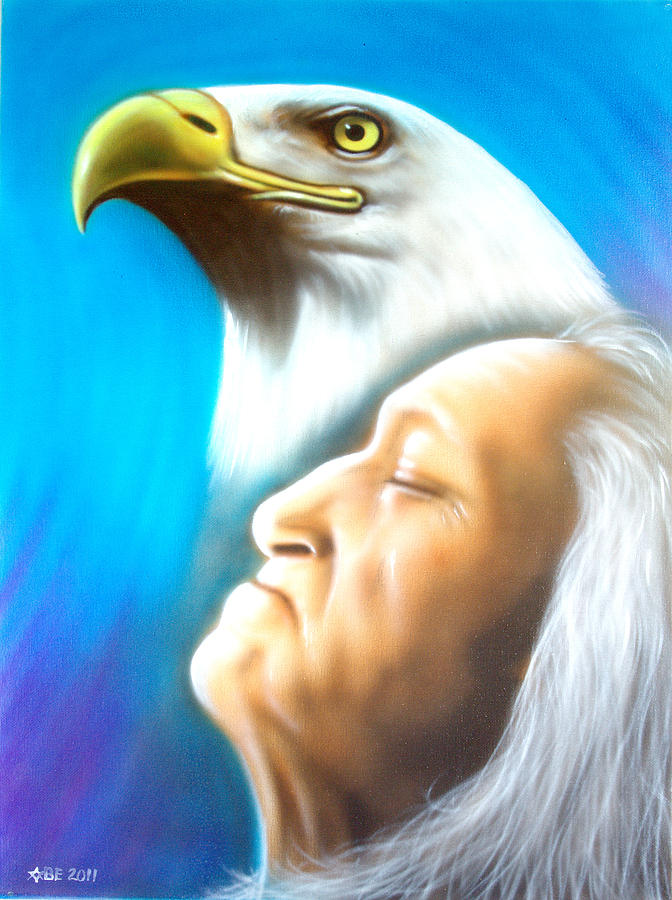 Spirit Of The Eagle Painting - Eagle Spirit by Amatzia Baruchi.