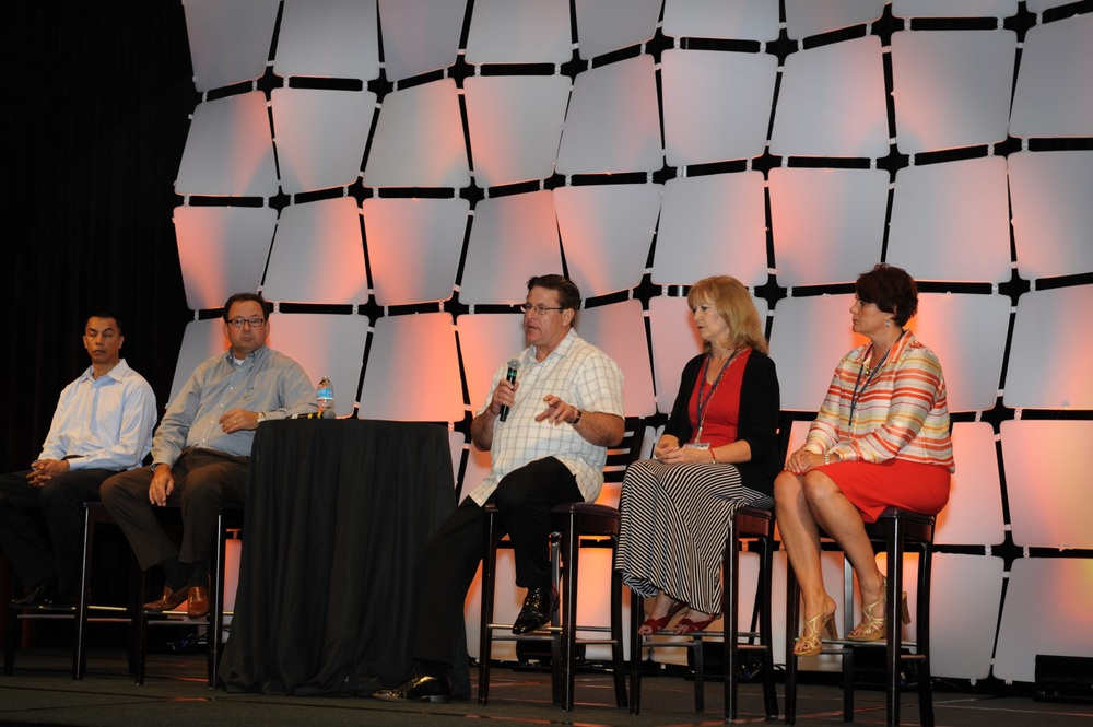 Our teams heard from our GE PGS (Power Generation Services) customer panel during the general session on our final day of the conference. Pictured from left to right: Ravi Kanhai, Kevin Lagasse, James Kaveney, Cindy Breitkreuz and Kim Hill.
