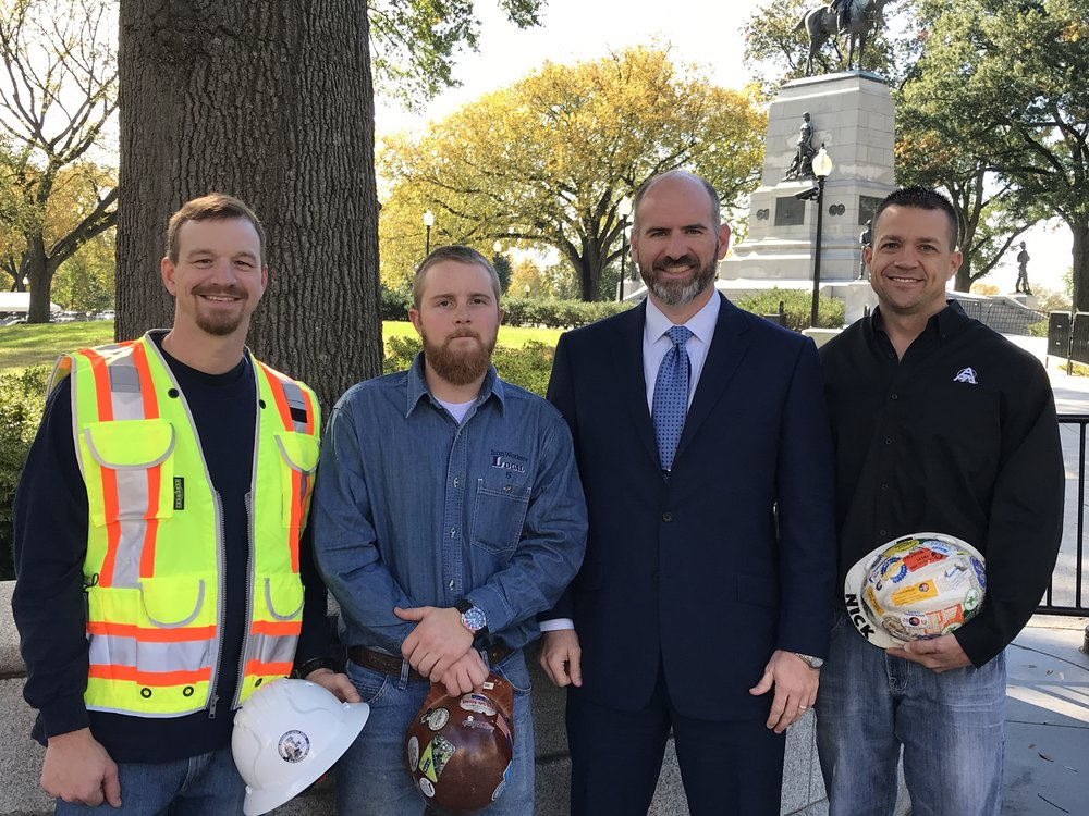 L-R: Kyle Cochran, IBEW Local 26; Bill Gordon, Ironworkers Local 5; Jake Locklear, CEO of APM and President of TAUC; and Nick Brockman, APM Specialty Services General Manager & Millwright Local 2158.