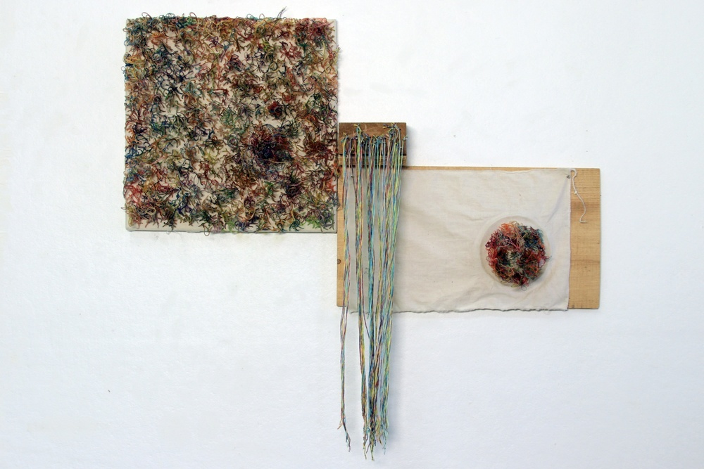 "Insides,  2013. wood, thread, fabric. 15""x27""x5""."