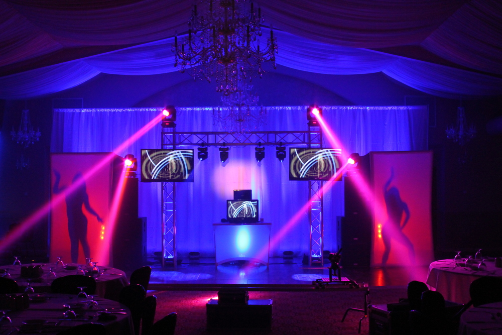 LION DJ PACKAGE Three video screens allow you to customize the show for your event.