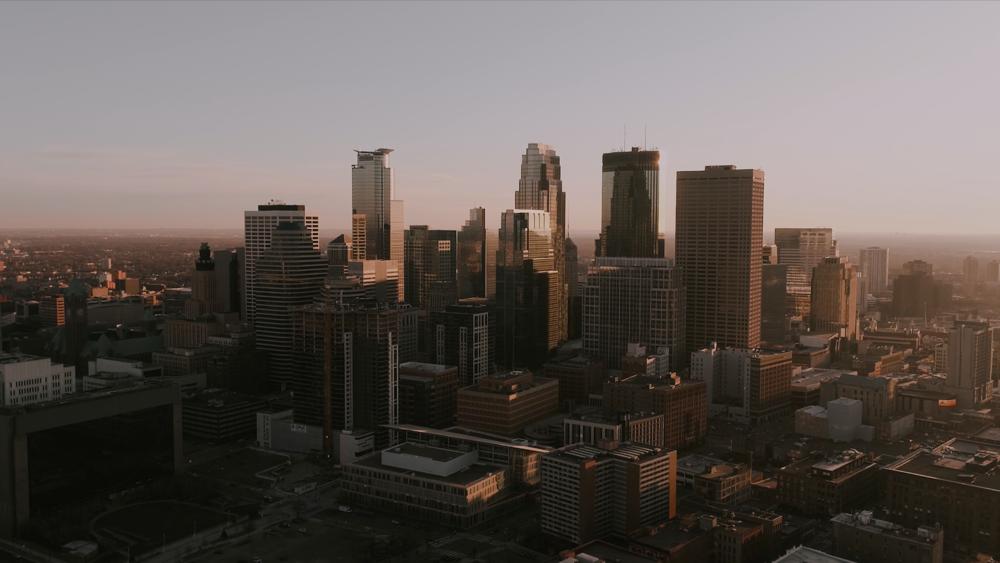 Gorgeous city skyline at sunset