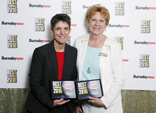 "Muleberry PARC  General Manager Jerilyn Lee (Left) and Sales Manager Monica Webb (Right) pose with the  ""  Best Retirement Residence"" and ""Best Independent Living""  awards at the Best of Burnaby Awards -- photography by    Malcolm McCutcheon"