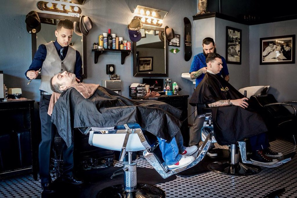 The Groom & his Dad: straight razor prep