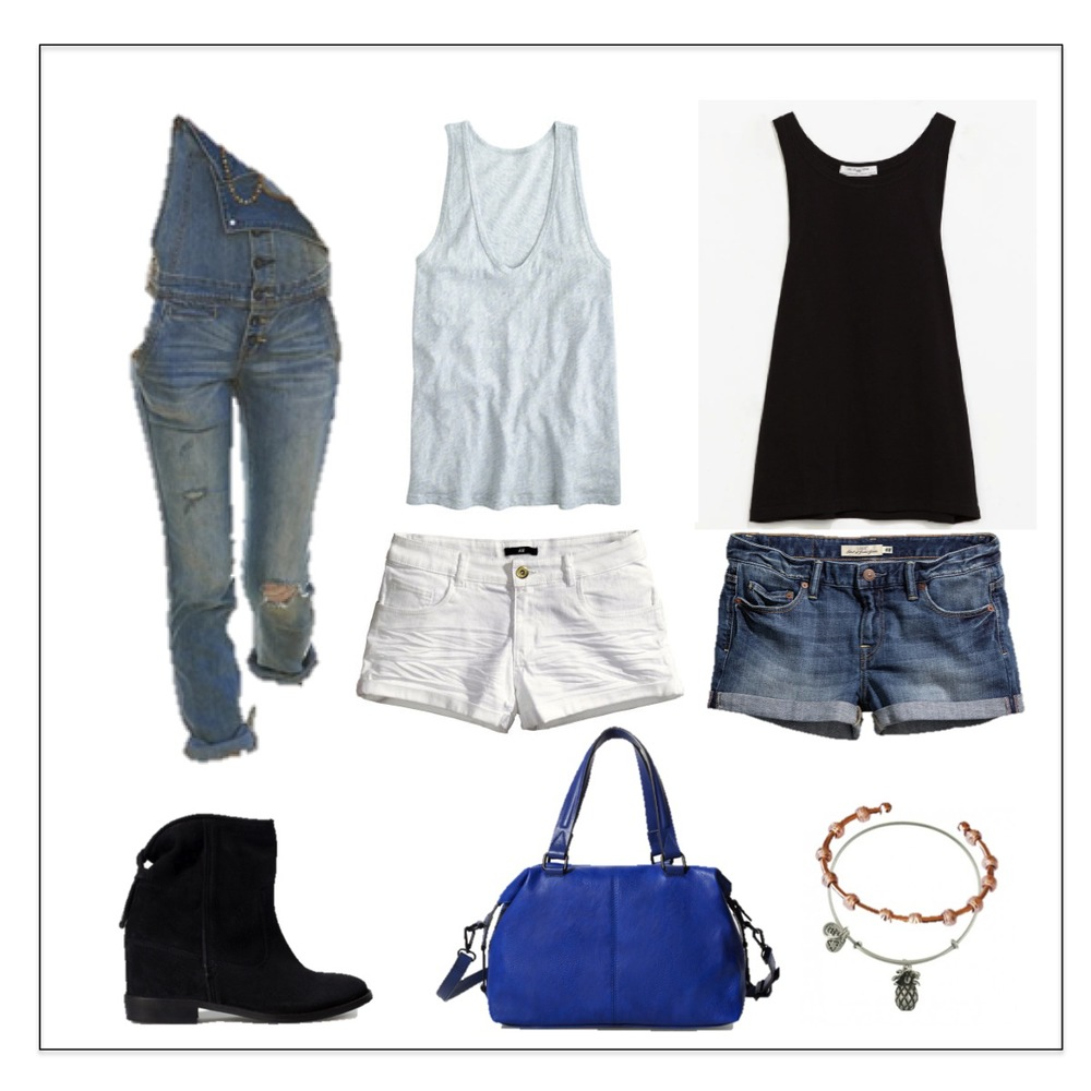 Free People Overalls || Jcrew Cotton Tank || Zara Cotton Tank || H&M Demin Shorts || H&M Twill Shorts || Zara TRF Booties || Zara Bag || Count Me Healthy Bracelet || Alex & Ani Bangle