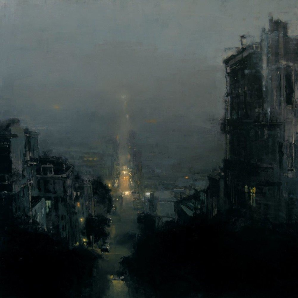 A Night Under Fog - 36 x 36 inches - Oil on Panel - 11/2009