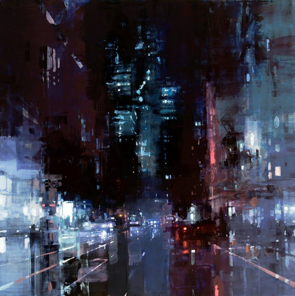 Market Street, Midnight - 36 x 36 inches - Oil on panel - 4/2016