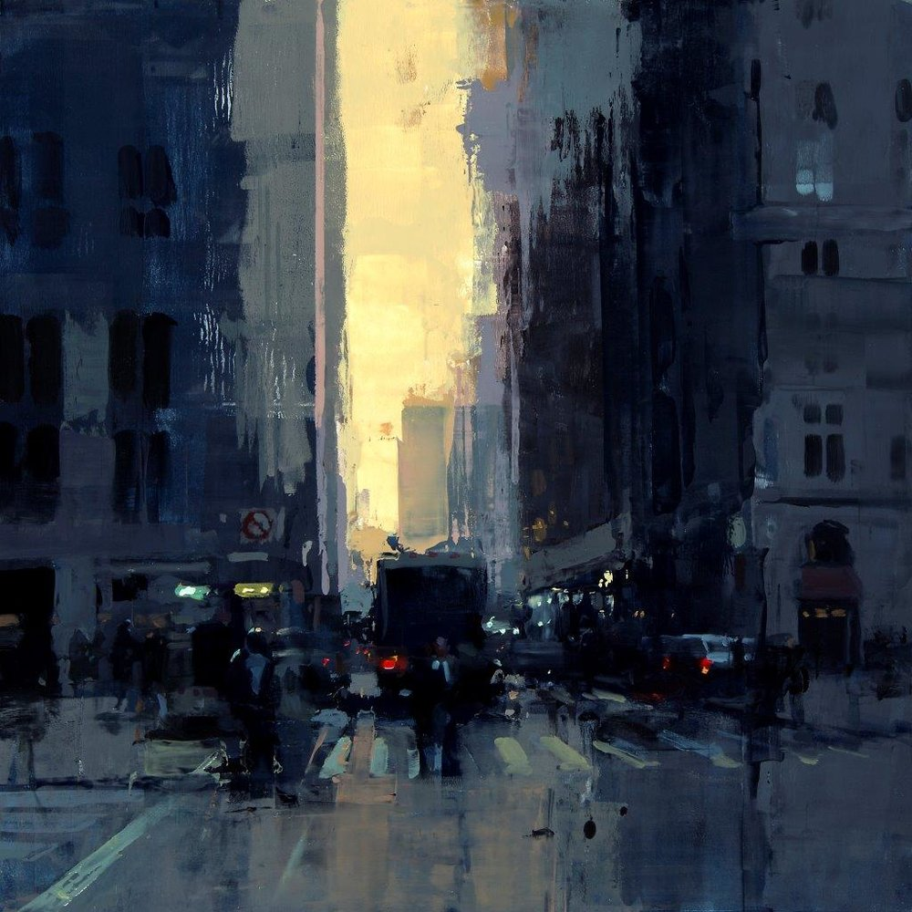 New York Sunset No. 2 - 12 x 12 inches - Oil on Panel - 2/2015