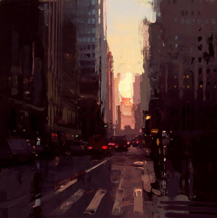 New York Sunset No. 1 - 12 x 12 inches - Oil on Panel - 2/2015