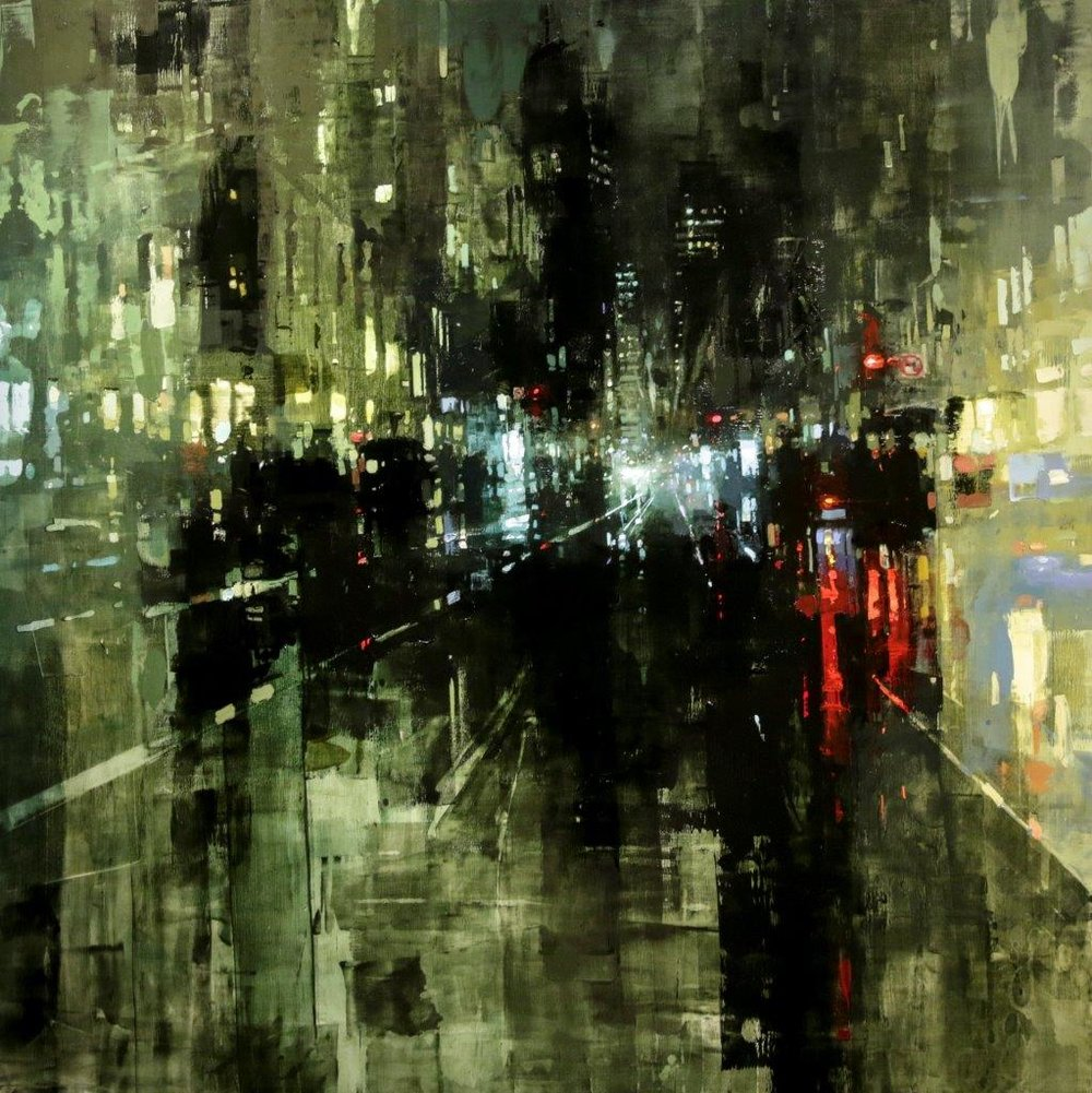 Night Rains in San Francisco - 36 x 36 inches - Oil on Panel - 1/2016