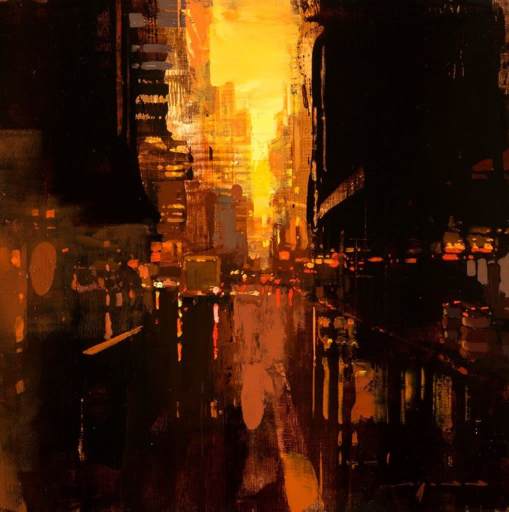 NYC in Red #3 - 12 x 12 inches - Oil on Panel - 8/2016