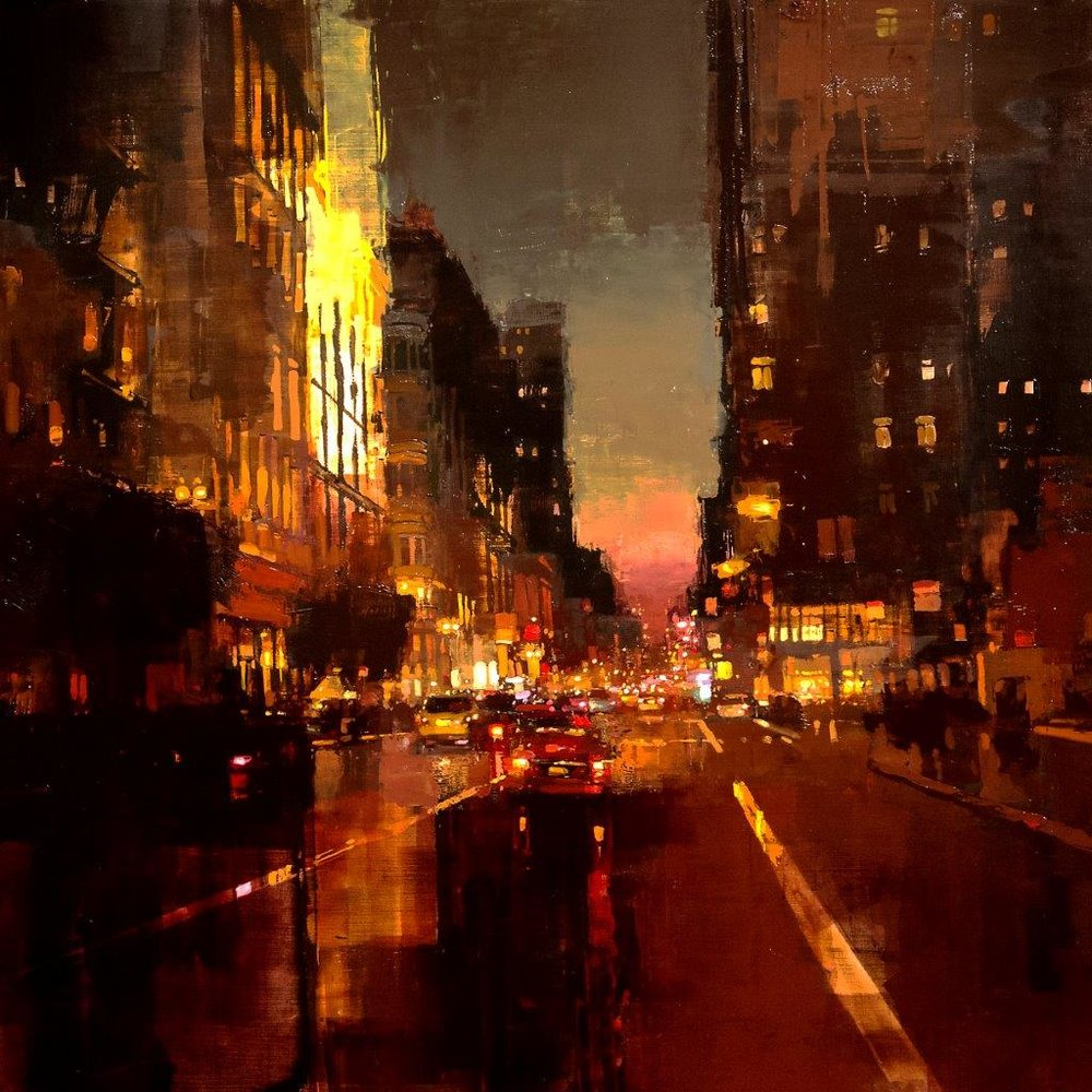 Sunset by Union Square - 36 x 36 inches - Oil on Panel - 9/2013