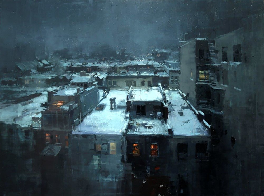 Rooftops in the Snow - 18 x 24 inches - Oil on Panel - 3/2014
