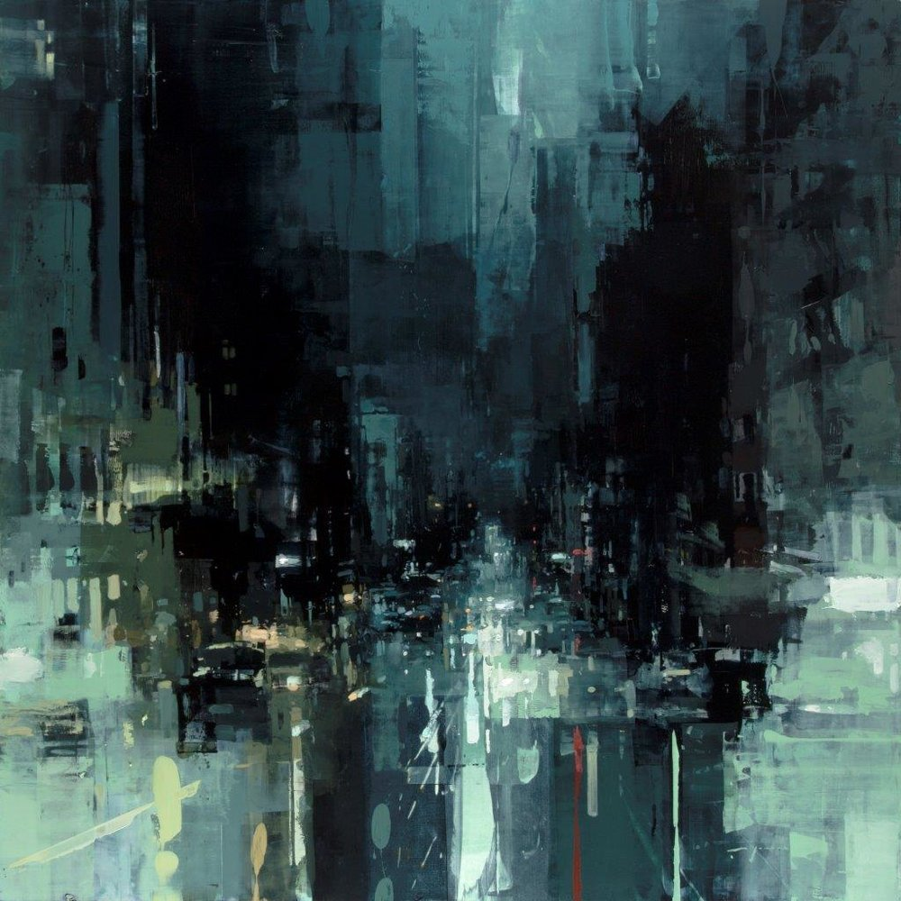 The Geary St. Storm - 48 x 48 inches - Oil on Panel - 3/2016