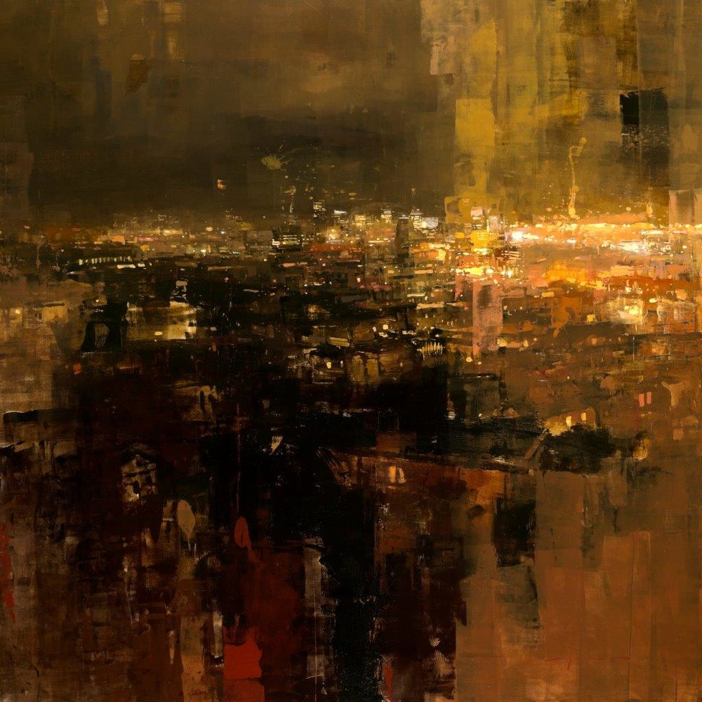 Yellow Night Above San Francisco - 36 x 36 inches - Oil on Panel - 10/2015