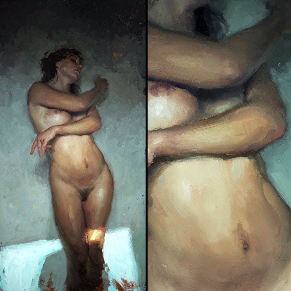 Nude Study Window Light no. 1 - 8.5 x 16 inches - Oil on Panel - 2/2015