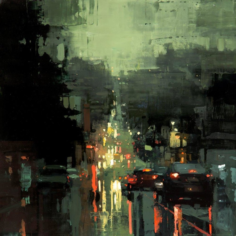 Castro Downpour - 12 x 12 inches - Oil on Panel - Jan-17