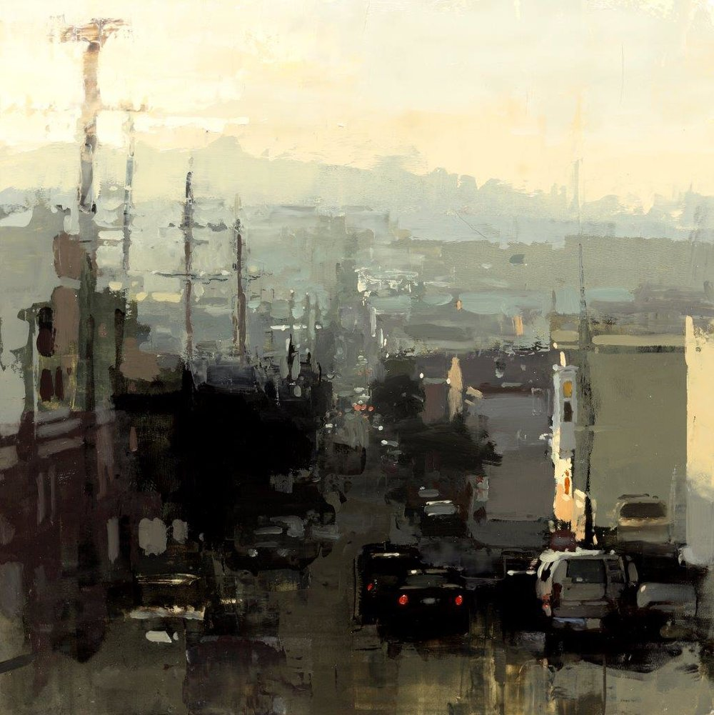 Last Light above the Mission - 12 x 12 inches - Oil on Panel - Mar-15