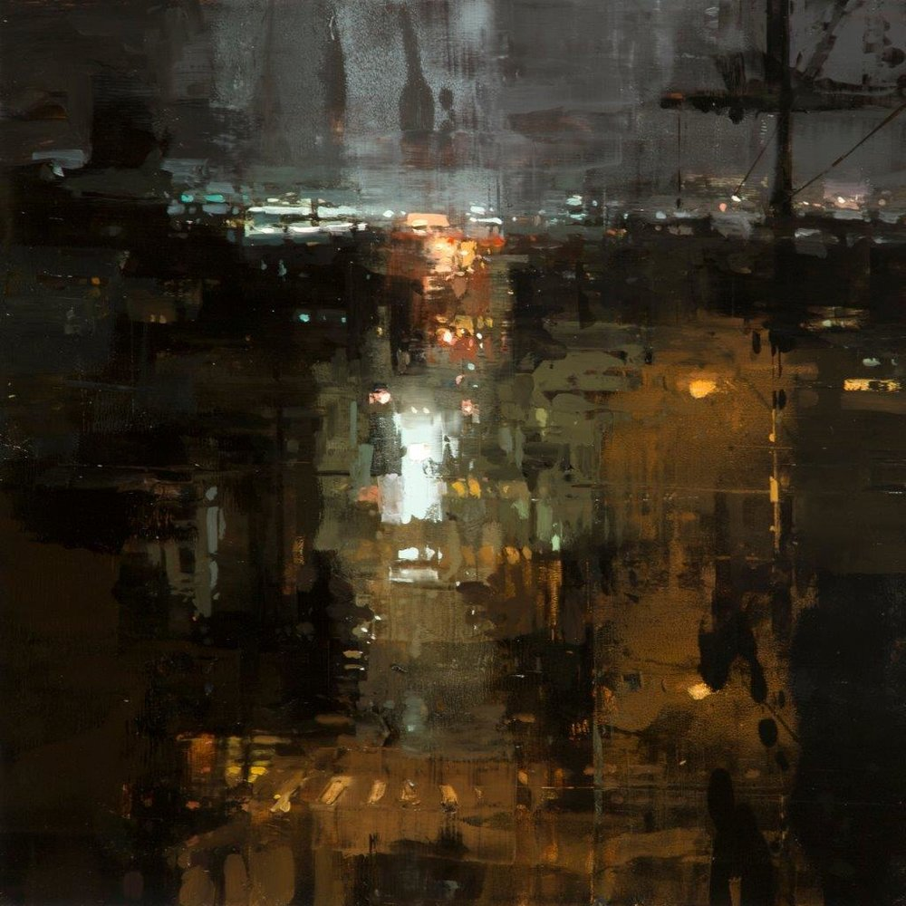 Through the Rain, To the Wharf - 12 x 12 inches - Oil on Panel - March 2017
